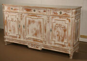 Lillian August Distressed White Painted French Louis Xvi Style Sideboard Buffet