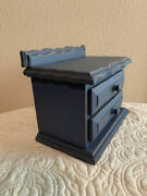 Antique Wood Handmade Toy Child's Two Drawer Chest Blue Paint Dressed Finish