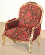 Fine Carved French Louis Xv Paint Decorated Louis Xv Bergere Chair Circa 1920