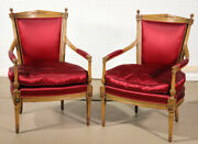Pair Carved Beacon Hill Collection French Louis Xvi Style Lounge Chairs C1970