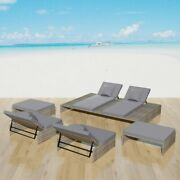 Poly Rattan Daybed Patio Sofa Chairs Set Cushioned Garden Outdoor Furniture