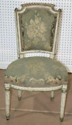 Antique Diminutive Distress Painted French Louis Xvi Side Vanity Chair C1870