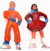Early Toy Lead Ice Skaters Man And Woman