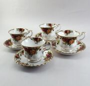 Royal Albert Old Country Roses Vintage Original - Tea Cups And Saucers Set Of 4
