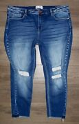 Women Bke Buckle Gabby Curvy Fit High Rise Ankle Skinny Distressed Jeans Size 36