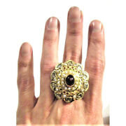 Vintage Diamond Ring Red Ruby Pearl 22k Gold Princess Sterling Silver Big Gift
