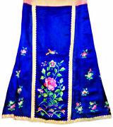 Antique Chinese Silk Robe Skirt Embroidery Qing Embroidered Electric Blue Pink