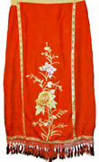 Antique Chinese Silk Embroidery Robe Skirt Qing Embroidered Honeycomb Pleated