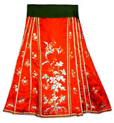 Antique Chinese Silk Embroidered Skirt Red Qing Embroidery Museum Quality 19thc