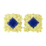 Menand039s Large Vintage 18k Yellow Gold Square Blue Lapis Textured Finish Cuff Links