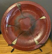 Vintage Ceramic Decorative 21 Plate Aged Red And Gold With Iron Stand