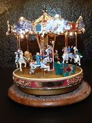 1997 Mr. Christmas Village Square Carousel Tested And Works Lights Flicker