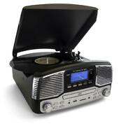 Trexonic Retro Record Player With Bluetooth, Cd Players And 3-speed Turntable In