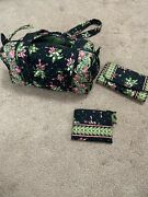 Vera Bradley Small Duffel 7 X 12black W/pink Ribbons Wallet And Coin Included