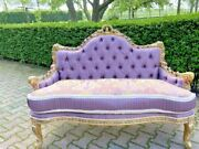 French Louis Xvi Style Settee/sofa In Pastel Colors - Worldwide Shipping