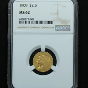 1909 2.50 Gold Indian Head Quarter Eagle Coin - Ngc Ms 62