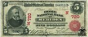 Series Of 1902 5 Home National Bank Of Meriden Connecticut Bill N720 Red Seal