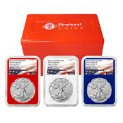 2021 W 1 Type 2 American Silver Eagle 3 Pc Set Ngc Ms70 Er Flag Label Red Whi