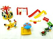 Vintage Playmobil City Park With Carnival Amusement Rides, People And Accessories
