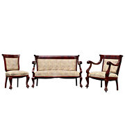 Antique Victorian Carved Flame Mahogany Parlor Chair Settee - Set Of 3