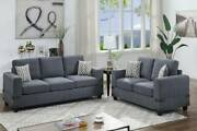 2pc Sofa Set Charcoal Chenille Sofa Couch Loveseat Family Living Room Pillows