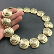 Vintage Necklace Gold Tone Metal Heavy Thick Collar Style