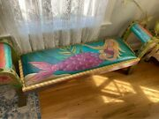 Sticks Sarah Grant Art Furniture Rolled-arm Benchleather Seatmermaid Motif-new