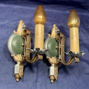 Pair Antique Rare Art Deco Rewired Wall Sconce Fixtures With Switches 124d