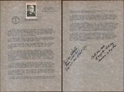 Copied 2 Page Truman Letter Controlling The A-bomb With Truman Stamp And 1st Day