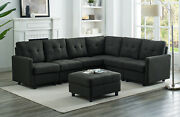 Muti-functional Black L-shape Home Sofa Couch Reversible Sectional With Cushion