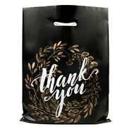 Shopping Bags Black And Gold Thank You -12x15 - Pack Of 100