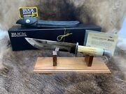 Buck 124 Custom Frontiersman Stag Knife With Leather Sheath - Sn039 Mint In Box