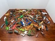 Mixed Huge Lot Of Plastic Animal Bundle 125 Toys Horses Sharks Lizards Cats