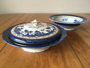 Pair Of Antique Booths Real Old Willow 9 Tureens/serving Bowls One With Lid
