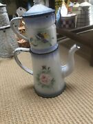 Vintage French Enamelware Rare Cafetiere With Flowers, 2 Handles.