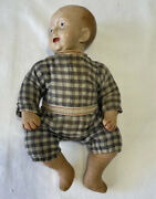Rare Antique Vintage Composition 12andrdquo Jointed Baby Rag Doll Early 1900andrsquos