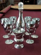Candlelite Crystal By Mueller Wine Decanter 6 Glasses And Vase Mercury Silver