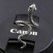 Elegant 925 Sterling Silver Charm Fashion King Cobra Snake Ring One Size Fit All