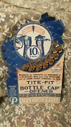 Antique Cardboard Advertising Sign Bottle Caps And Opener 7 Caps