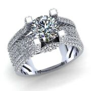 Natural 2ct Round Cut Diamond Ladies Accent Solitaire Engagement Ring 18k Gold