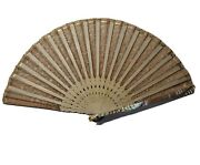 18 Antique Mother Of Pearl And Lace Hand Fan Pink Victorian Decorative 9.5