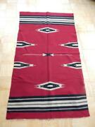 Large Red Background Vintage / Antique Chimayo Blanket Weaving Rug New Mexican