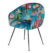 Saltoro Sherpi Curved Floral Pattern Fabric Dining Chair With Metal Legs, Blue