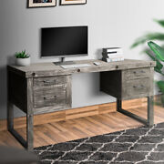 Saltoro Serpi 61 Inch 4 Drawer Wooden Home Office Desk With Sled Leg Support