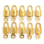 Louis Vuitton Brass Gold Tone Lv Padlock And Key 10 Pieces Set 332 Rise-on