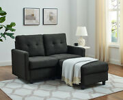 Modern Fabric Sectional L-shape Home Sofa Couch Reversible With Cushion Black