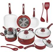 Ivation Kitchen Non Stick Ceramic Cookware Lids Set W Induction Base Red 16 Pc