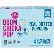 Angie's Boomchickapop Real Butter Microwave Popcorn 3.29 Oz. Classic Bags 4-c...