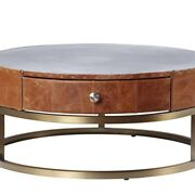 Saltoro Sherpi Round Metal Coffee Table With Airy Design Base, Small, Multicolor