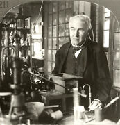 Keystone Stereoview Thomas Edison In His Lab From Rare 1930's History Set H211